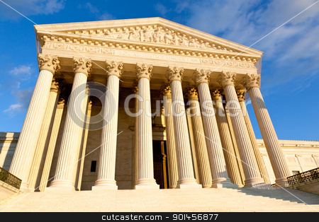 US Supreme court stock photo, Late afternoon winter sun illuminates front of supreme court in Washington in winter by Steven Heap