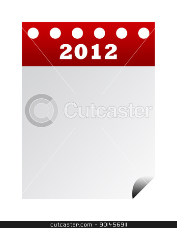 2012 Calendar stock photo, Front blank page of year 2012 calendar isolated on white background. by Martin Crowdy