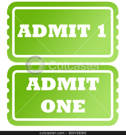 Admit one green tickets stock photo, Set of two admit one green tickets; isolated on white background. by Martin Crowdy