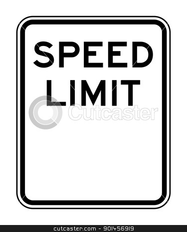 Blank speed limit sign stock photo, Blank American speed limit sign isolated on white background with copy space. by Martin Crowdy