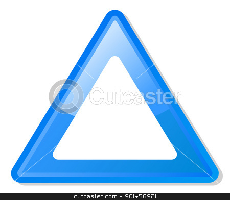 Blue warning triangle stock photo, Blue warning triangle with copy space, isolated on white background. by Martin Crowdy