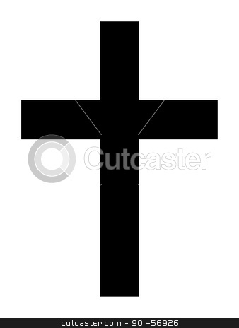 Christian Cross stock photo, Black silhouette of Christian cross isolated on white background. by Martin Crowdy