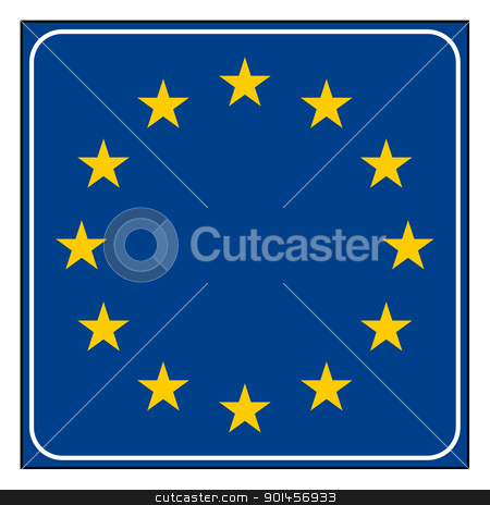 Spain or Spanish road sign stock photo, Europeann button isolated on white background with copy space.  by Martin Crowdy