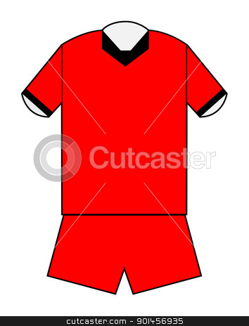 Blank football or soccer kit stock photo, Blank football or soccer kit in red with clipping path on white background. by Martin Crowdy