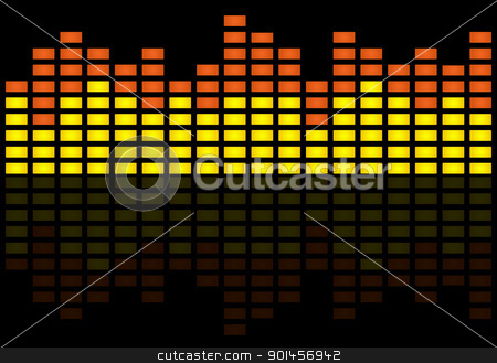 Graphic equalizer stock photo, Illustration of graphic equilizer on black background. by Martin Crowdy