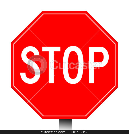 Red stop sign stock photo, Red stop sign isolated on a white background. by Martin Crowdy