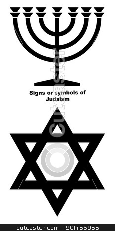 Signs or symbols of Judaism stock photo, Jewish Menorah candlestick and Star of David in black silhouette isolated on white background. by Martin Crowdy