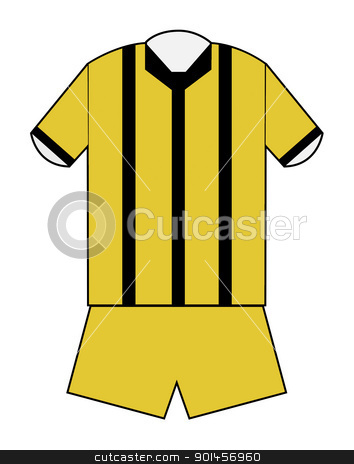 Blank football or soccer kit stock photo, Blank football or soccer kit in black and gold stripes with clipping path on white background. by Martin Crowdy