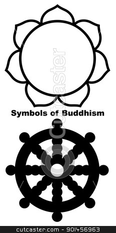 Buddhist Lotus flower stock photo, Buddhist Lotus flower in black silhouette isolated on white background. by Martin Crowdy