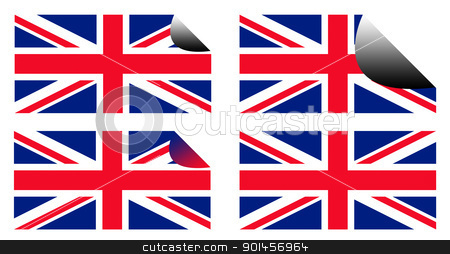 Royal Wedding labels or stickers stock photo, Union Jack flag stickers isolated on white background by Martin Crowdy