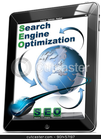 Tablet SEO - Search engine optimization stock photo, Tablet computer with the icons SEO, search engine optimization  by catalby