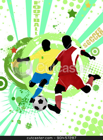 Football poster background stock vector clipart, Action football players on grunge poster background, vector illustration by radubalint