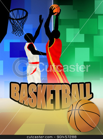 basketball players stock vector clipart, basketball players poster background, vector illustration by radubalint