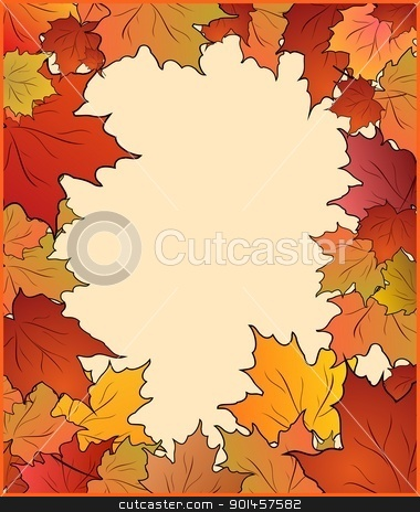 Autumn card with maple stock vector clipart, Autumn cute card with maple. Vector by -=Mad Dog=-