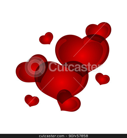 set valentine hearts isolated stock vector clipart, Illustration set valentine hearts isolated - vector by -=Mad Dog=-
