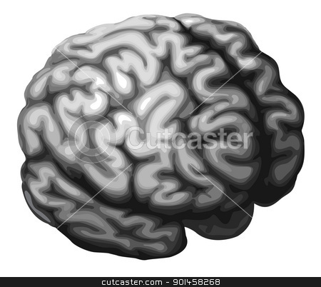 Brain illustration stock vector clipart, Illustration of a monochrome brain in shades of grey by Christos Georghiou