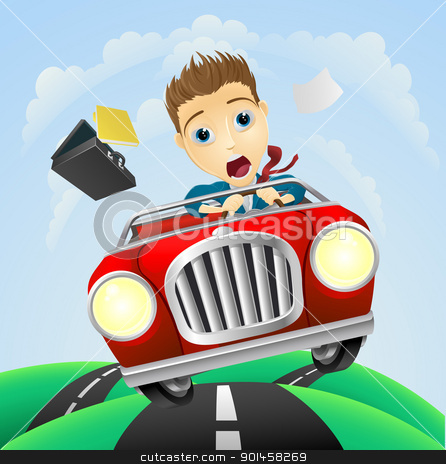 Young businessman driving fast classic car stock vector clipart, A young businessman looking very scared driving fast in classic sports car  by Christos Georghiou