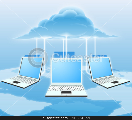 Cloud computing concept stock vector clipart, A conceptual cloud computing illustration. Laptops connected to the cloud with a world map in the background. by Christos Georghiou