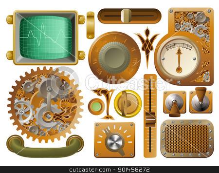 Victorian Steampunk design elements stock vector clipart, Industrial Victorian style grunge Steampunk design element switches, dials etc. by Christos Georghiou