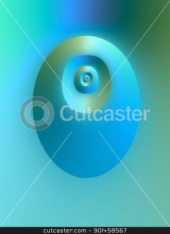 Be Calmed stock photo, Abstract digital image in a geometrical oval design in shades of blue.  by Colin Forrest