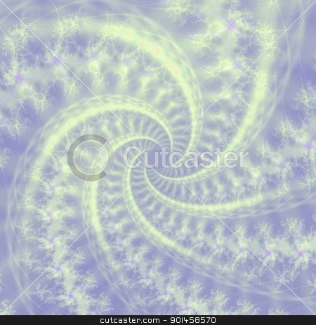Contrail Spiral stock photo, Computer generated fractal image with a spiral contrail cloud design in lilac and white. by Colin Forrest