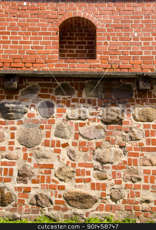 Architectural Vilnius defence wall background. stock photo, Architectural defence wall background. Ancient wall made of red brick and stones. by sauletas