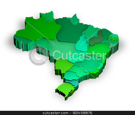 Three dimensional map of Brazil with states stock photo, Three dimensional map of Brazil with white background by marphotography