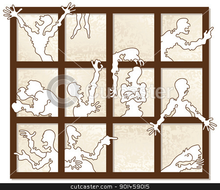 Window of Emotions stock vector clipart, Glimpses into the life of emotional person. by mammothis