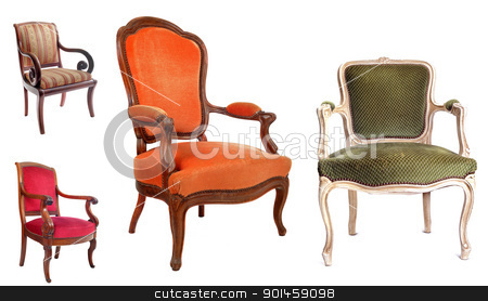 antique chairs stock photo, antique chairs in front of white background by Bonzami Emmanuelle