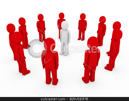 3d human circle red white  stock photo, 3d human circle red white business group team by d3images