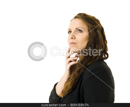 Dreaming woman stock photo, Dreaming woman isolated on white background by Anne-Louise Quarfoth