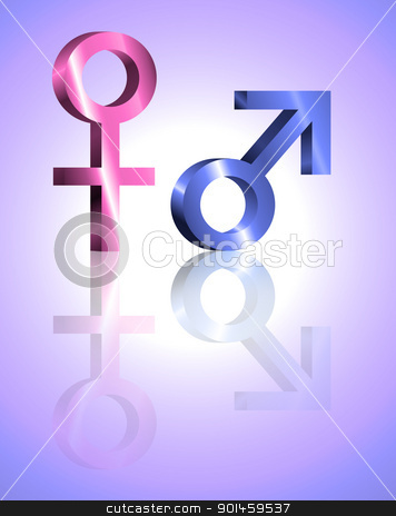 Male and female symbols. stock photo, Illustration depicting metallic blue and pink male and female symbols against violet blur background and reflecting into the foreground. by Samantha Craddock
