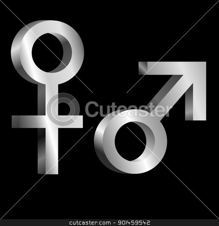 Male and female symbols. stock photo, Illustration depicting metallic male and female symbols arranged over black. by Samantha Craddock