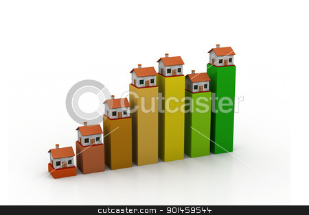 Graph of home sale stock photo, Graph of home sale by dileep