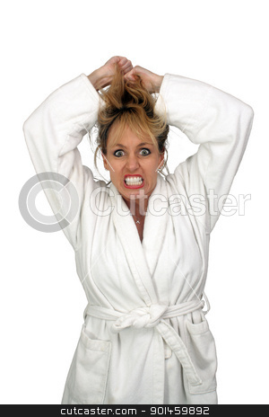 Beautiful Insane Blonde stock photo, A lovely but insane, angry, or frustrated blonde, pulling her hair.  Isolated on a white background. by Carl Stewart
