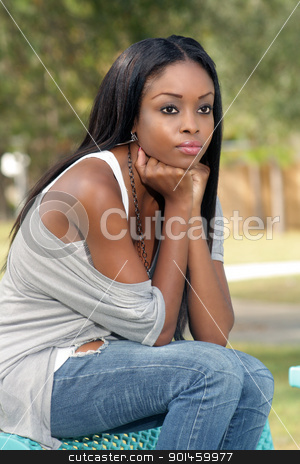 Beautiful Young Woman on a Park Bench (4)  stock photo, An extraordinarily beautiful young woman sits on a park bench looking off-camera to frame right.  by Carl Stewart