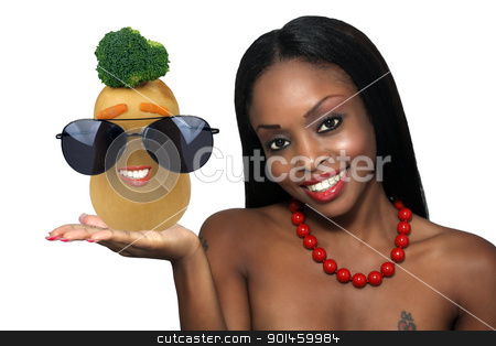 Beautiful Young Hostess with a Butternut Squash stock photo, Studio close-up of an extraordinarily beautiful young woman with a bright, warm smile and an anthropomorphic butternut squash. by Carl Stewart