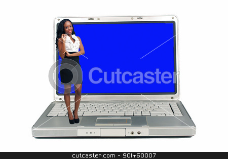 Beautiful Young Businesswoman Standing on a Laptop Computer stock photo, An extraordinarily beautiful young businesswoman holding an ink pen stands on a laptop computer with a blank blue screen. by Carl Stewart
