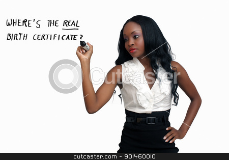 Beautiful Young Businesswoman with a Heavy Marker (3) stock photo, An extraordinarily beautiful young businesswoman writing with a heavy marker.  Isolated on a white background with generous copyspace. by Carl Stewart