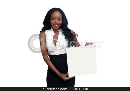 Beautiful Young Businesswoman Holding a Blank White Card (1) stock photo, An extraordinarily beautiful young businesswoman holding a blank white card.  Isolated on a white background with generous copyspace. by Carl Stewart