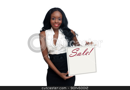 Beautiful Young Businesswoman Holding a Sale Announcement Card stock photo, An extraordinarily beautiful young businesswoman holding a white card with the word,