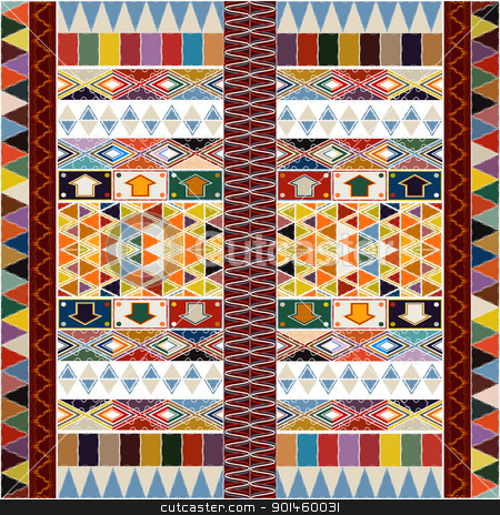 Ethnic carpet design stock vector clipart, Ethnic carpet design with geometric motif, abstract background by Richard Laschon