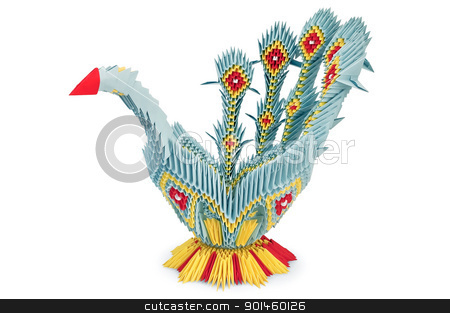 Origami Blue Bird stock photo, Origami in the form of yellow, blue and red bird with iridescent tail is isolated on a white background by rezkrr