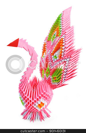 Origami_pink bird stock photo, Origami in the form of a pink bird with the iridescent tail is isolated on a white background by rezkrr
