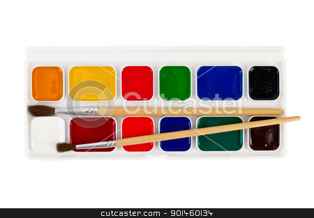 Paint with brushes stock photo, A box of paints, two brushes isolated on white background by rezkrr