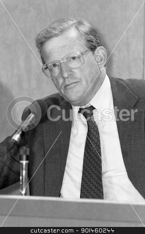 Rt.Hon. Tom King stock photo, Rt.Hon. Tom King, Secretary of State for Defence and Conservative party Member of Parliament for Bridgwater, attends a press conference in London on September 9, 1991. by newsfocus1