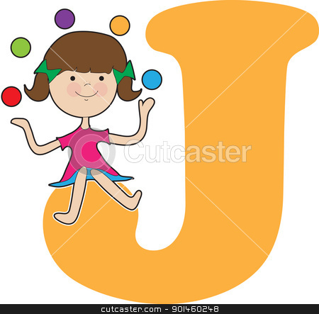 Alphabet Girl J stock vector clipart, A young girl juggling balls to stand for the letter J by Maria Bell