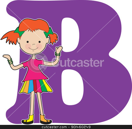 Alphabet Girl B stock vector clipart, A young girl holding bracelets to stand for the letter B by Maria Bell