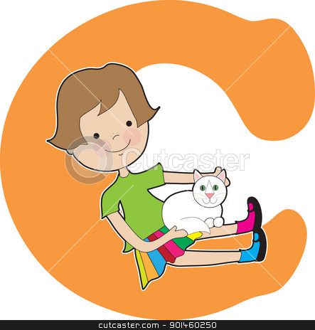 Alphabet Girl C stock vector clipart, A young girl holding a cat to stand for the letter C by Maria Bell