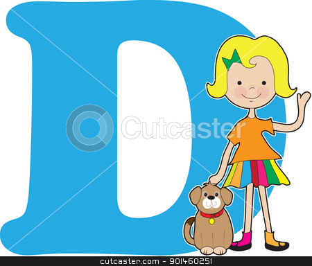 Alphabet Girl D stock vector clipart, A young girl holding a dog to stand for the letter D by Maria Bell